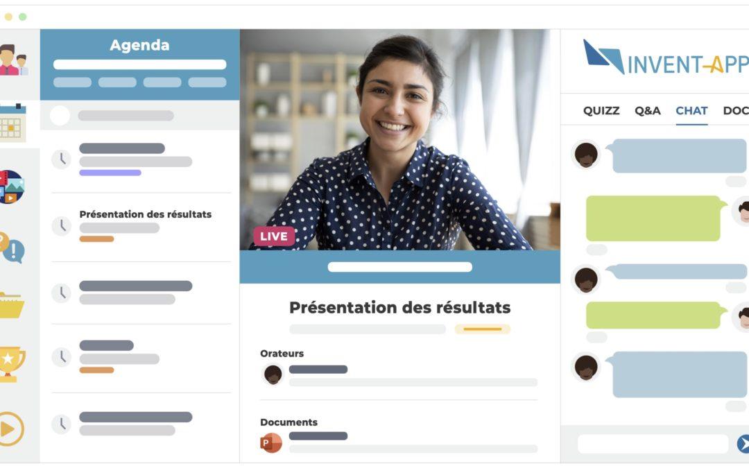 écran présentant un événement virtuel (vidéo, détails de la sessions, agenda, chat)